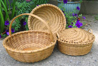 Wooden-bottomed pie, covered pie, and swirled yarn baskets